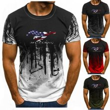 U.S. flag Mustang Print Gradient color T Shirt Men Breathable Mens Short Sleeve Fitness Mens tshirt Gyms Tee Tight Casual Top jh(China)