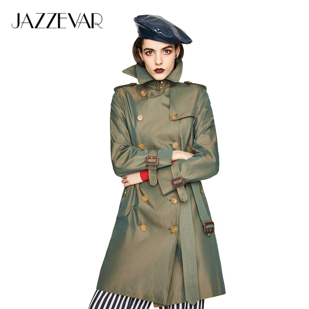 JAZZEVAR 2019 New Women's Waterproof Cotton Long Classic Double-breasted The Kensington Heritage Trench Coat Top Quality