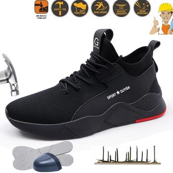 Plus rozmiar 39 48 niezniszczalne buty robocze bhp mężczyźni Anti-smash Anti-piercing miękka antypoślizgowa konstrukcja Man Steel Toe Sneakers tanie i dobre opinie ORVAB Pracy i bezpieczeństwa CN (pochodzenie) Mesh (air mesh) ANKLE Stałe Okrągły nosek RUBBER Wiosna jesień Niska (1 cm-3 cm)