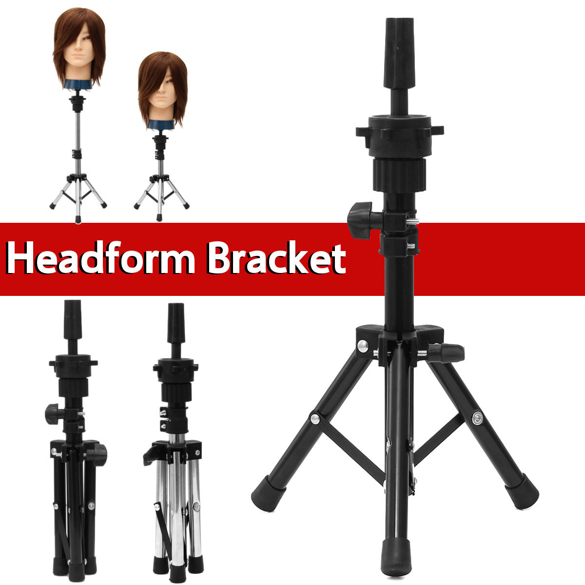 Adjustable Tripod Headform Mannequin Head Wig Stand Prosthesis Doll Holder Brackets Model Hairdressing Tripod Training Hair Tool