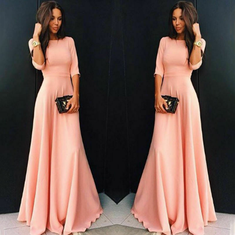 Big Size Retro Women Vintage Long Dress Zipper Half Sleeve Maxi Dress  High Waist Big Swing Elegant Evening Party Dress S-2XL