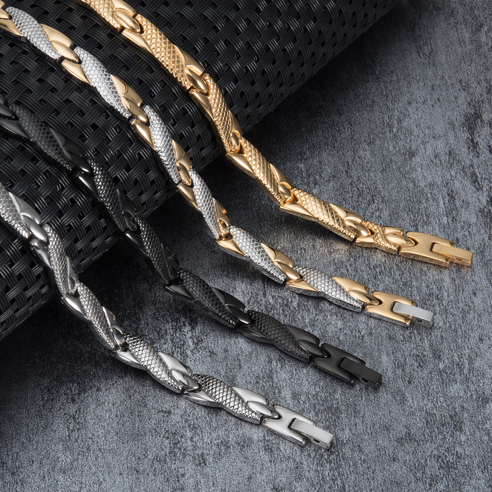Vinterly Health Energy Bracelet Male Cross Stainless Steel Magnetic Bracelet Men Gold-color Chain Link Bracelet for Men Jewelry