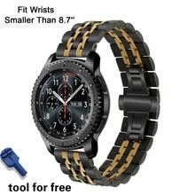 Bracelet en acier inoxydable pour Samsung Galaxy Watch, Bracelet 20mm 22mm, pour Gear S2 S3 42mm 46mm, broches à libération rapide, boucle papillon