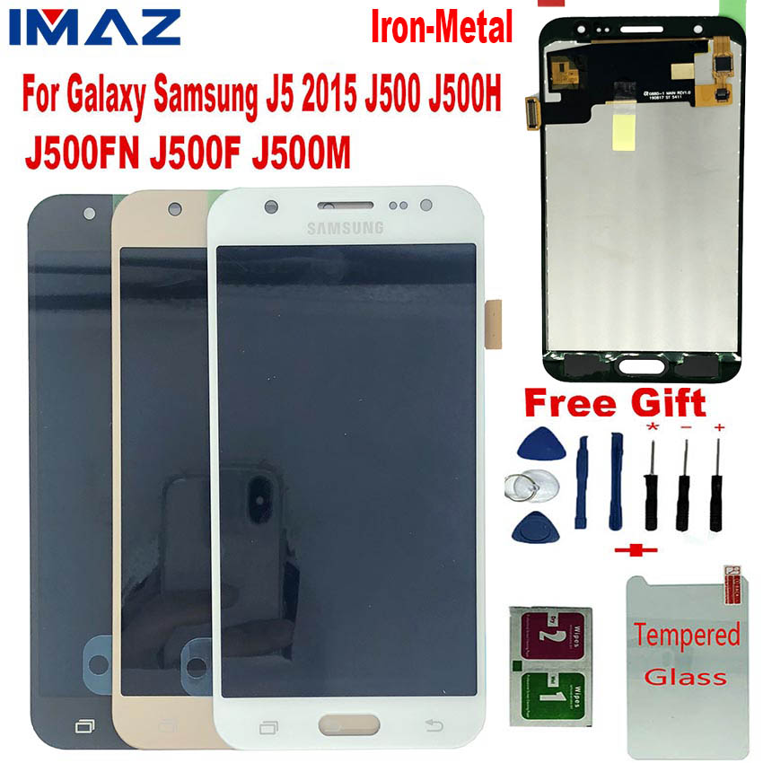IMAZ Iron Metal LCD For Samsung Galaxy <font><b>J5</b></font> 2015 <font><b>J500</b></font> J500H J500FN J500F LCD Display Touch Screen Digitizer Assembly For <font><b>J5</b></font> LCD image