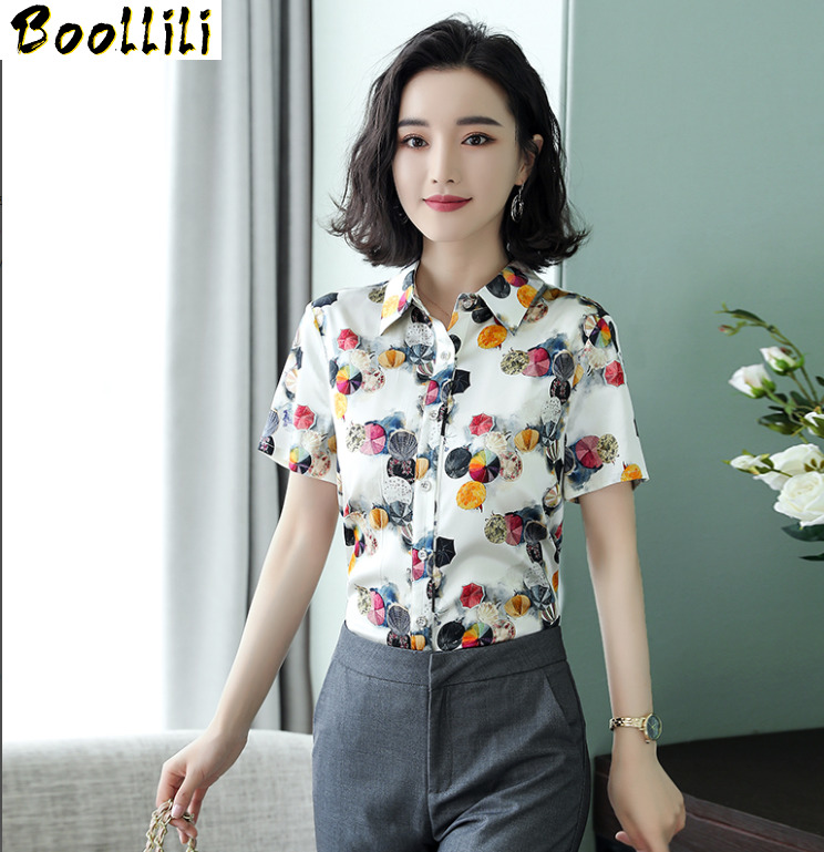 Boollili Womens Tops and Blouses Real Silk Blouse Plus Size Shirts Elegant Office Ladies Wear Summer Short Sleeve Shirt