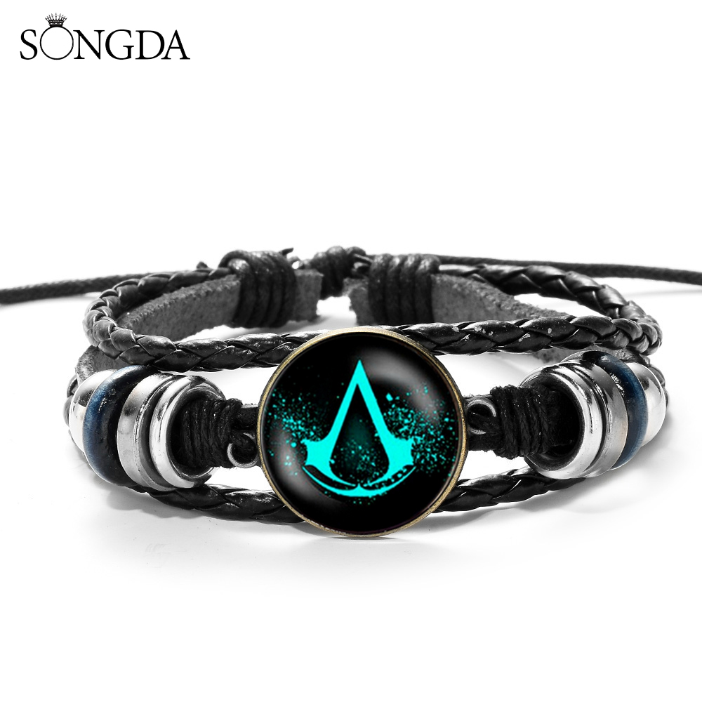 Hot Action Game Multilayer Wood Bead Bracelet Mens Casual Fashion Woven Leather Bracelet Bangle Retro Punk Wrap Wristband