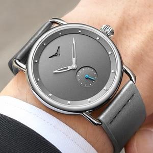 Image 2 - ONOLA Reloj sencillo de acero inoxidable para hombre, reloj de pulsera masculino, de cuero genuino, elegante, informal, resistente al agua, 2019