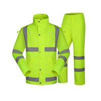 Factory Direct Reflective Clothing Outdoor Fluorescence Green Safe Reflective Clothing Two Piece Set Raincoat And Rain Pants Adu