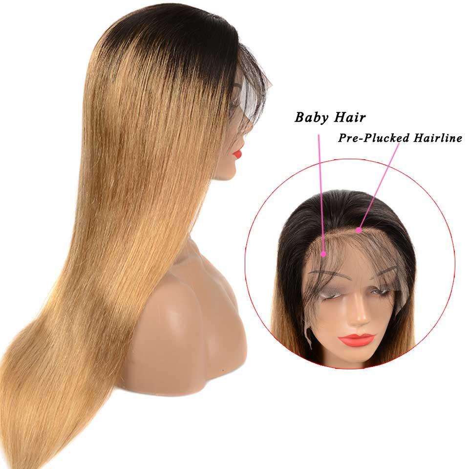 1b/27 Омбре прямые человеческие волосы на кружеве парики медовый блонд основные Remy бразильские парики на кружеве для черных женщин - 3