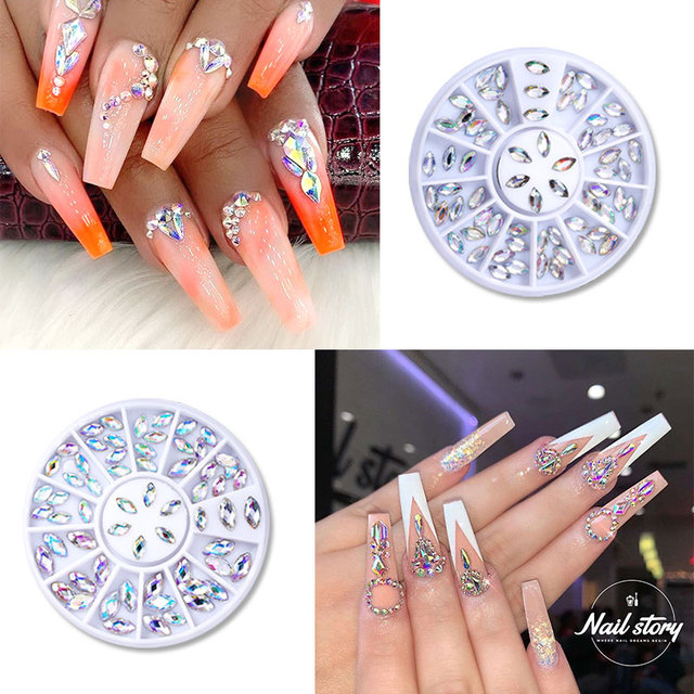 1 Box Mixed Color Nail Art Rhinestone Shiny Crystal Diamond Nail Glitter Beads 3D Nail Art Decorations Nail Accessories In Wheel 5