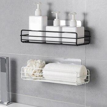 wrought iron wall-mounted racks free punching bathroom storage rack storage shelf shower wall shelf kitchen bathr Bathroom Fixtures
