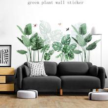 3D Wallpaper Green Plant Leaf Wall Sticker Home Living Room Bathroom Kitchen Decoration Mural Palm