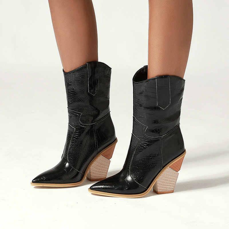 Pointed Toeผู้หญิงรองเท้าPuหนังWedgeส้นสูงChunky Cowgirl Winter Bootsผู้หญิงคริสต์มาสWestern Boots2019