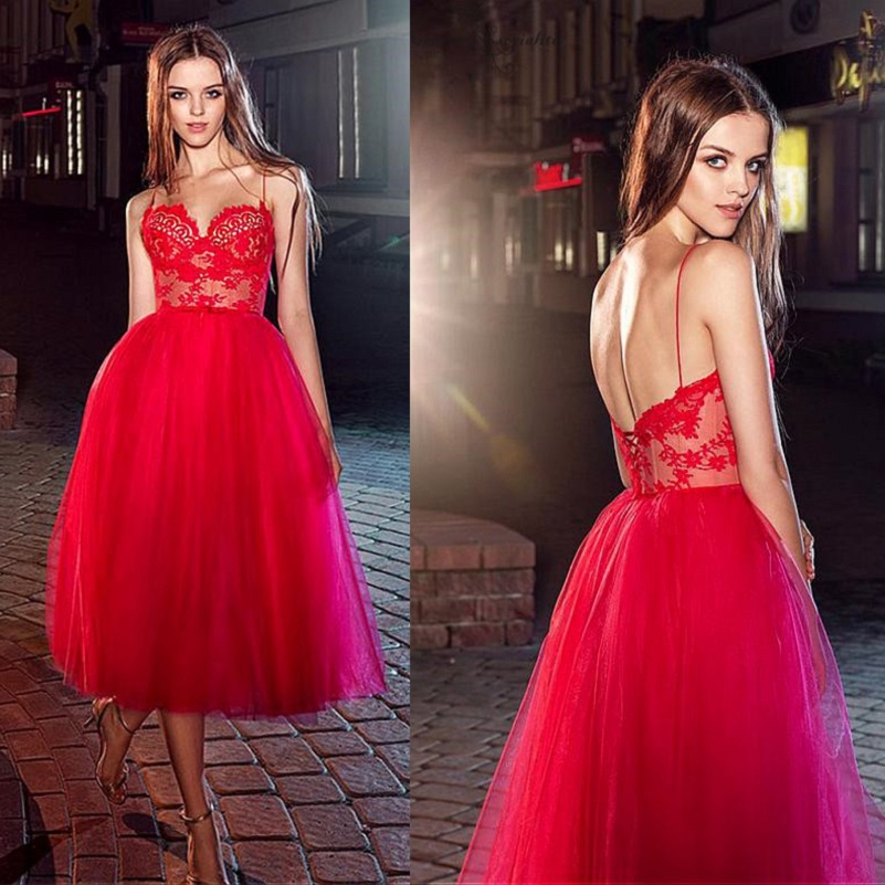 Sexy Red Cocktail Dresses Party Gowns 2019 Lace Appliques Spaghetti Straps Tea-Length Sheer Top Prom Dresses Formal Gowns Cheap