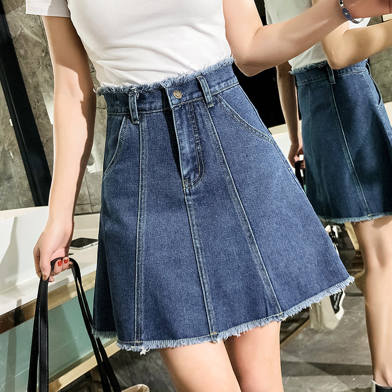 Denim Skirt Women's High-waisted 2019 New Style Large Size Dress 200 Of Fat Mm Students Korean-style A- Line Skirt