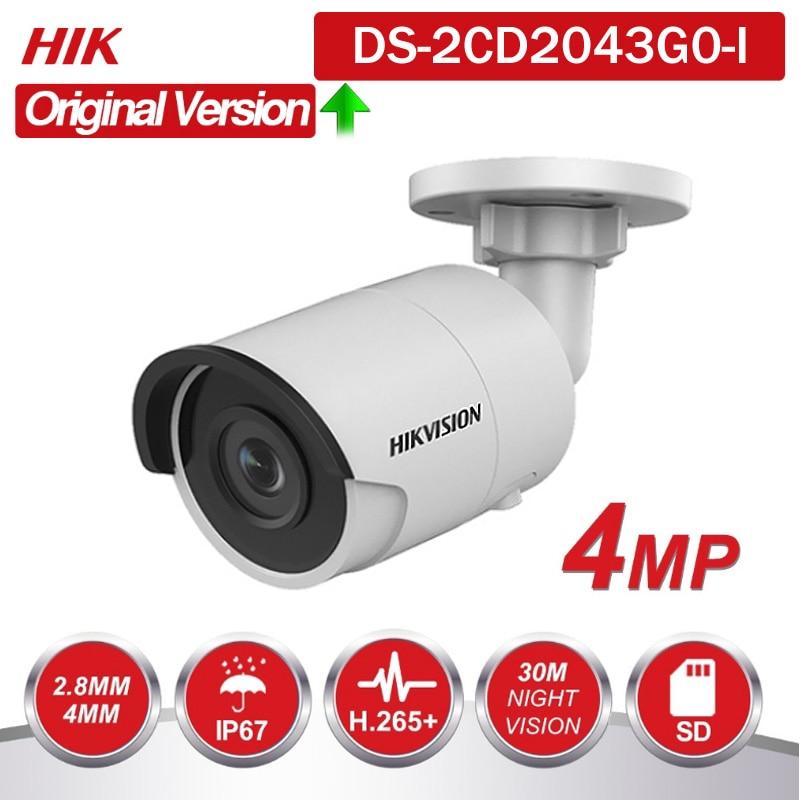 Hikvision original inglês DS-2CD2043G0-I substituir DS-2CD2042WD-I 4mp rede ip bala ir poe câmera slot para cartão sd h265 264