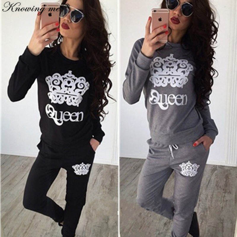 Knowing Me 2019 Autumn Queen Pattern Print Tracksuit Set Women Casual O Neck Long Sleeve Hoodies Set Lady Fashion Winter Sweatsh