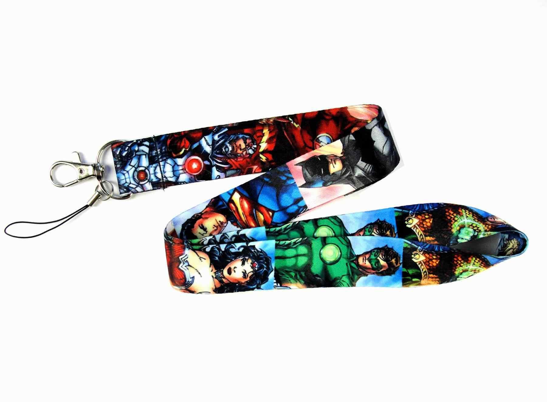 Venta caliente 1 pieza de alta calidad de dibujos animados Cool Superman Batman insignia titular cordón correa de teléfono móvil correa de llave