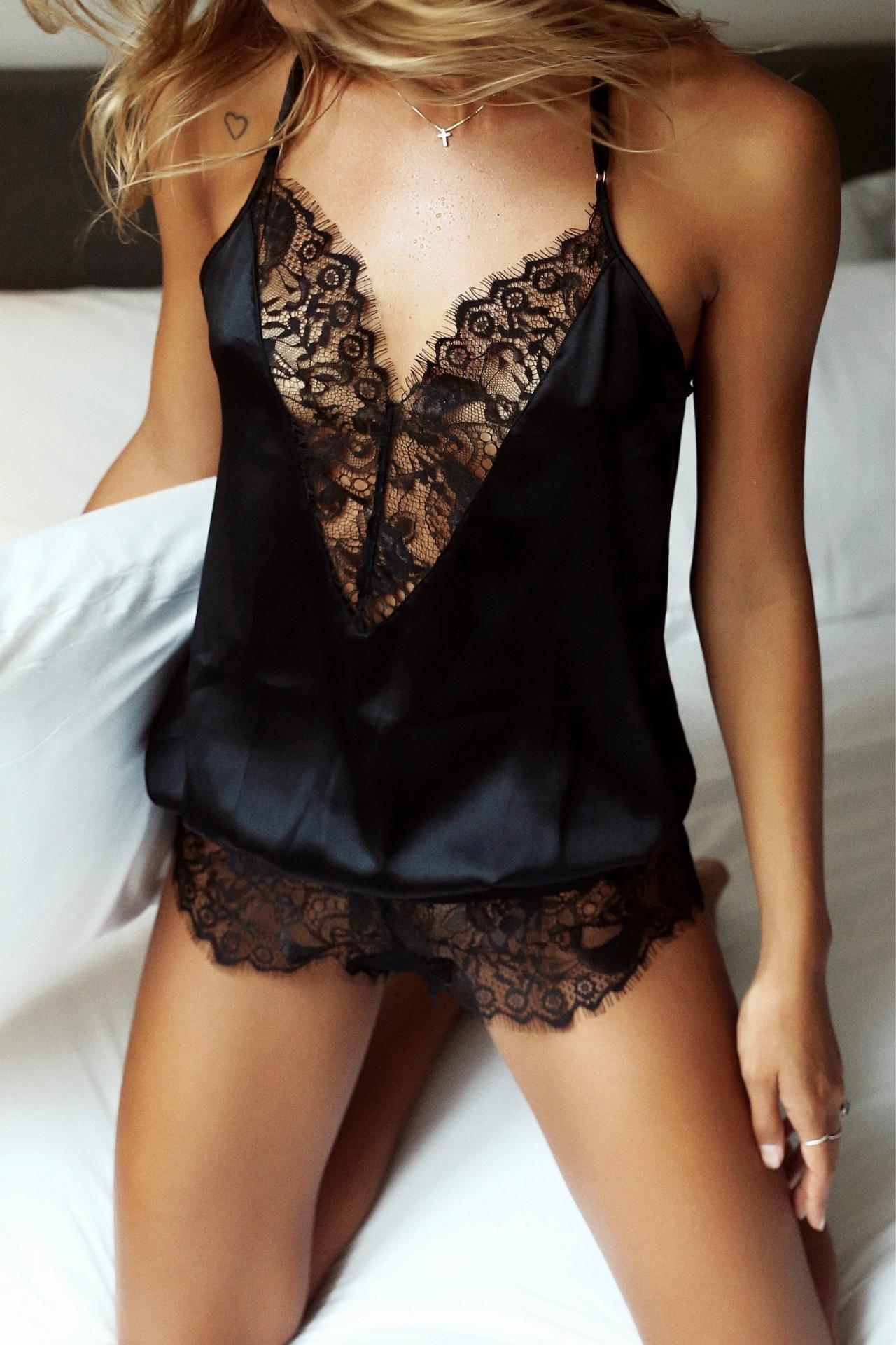 2019 Kaguster Lounge Lingerie Sexy Sleepwear Sleep Wear For Women Nightdown Sleep Dress Lace Sex Love Mujer Underwear Sling Girl