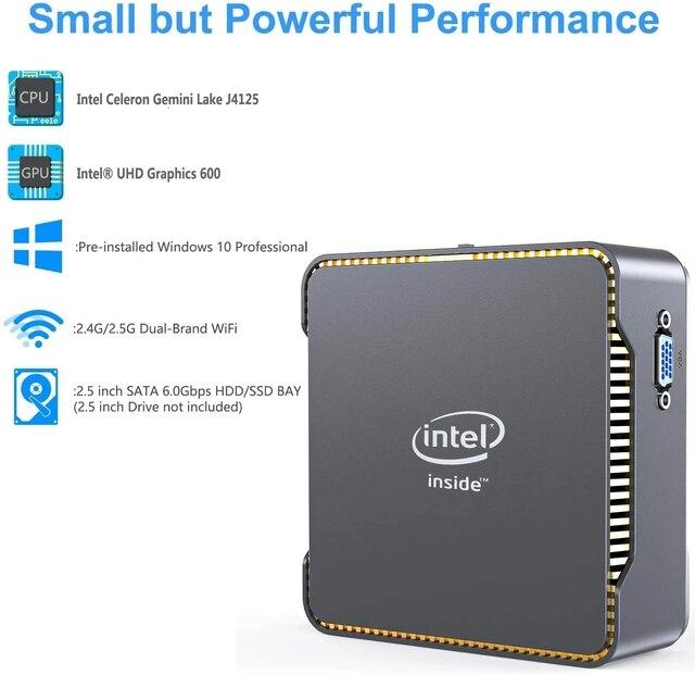 GK3V Windows 10 Pro Key Mini PC Intel Gemini Lake J4125 8GB DDR4 128GB 256GB 512GB SSD Gaming PC 2.4G5G WiFi 1000M Mini Computer 2