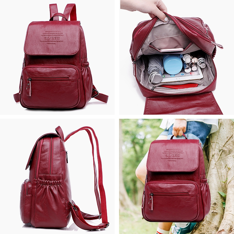 2019 New Genuine Leather Women Backpack For Teenager Girl Large Capacity Multifunction School Backpack Sheepskin Travel Mochila