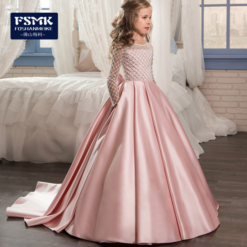 Big Boy Formal Dress Girls Lace Satin Tailing Long Sleeve Princess Dress Rhombus Long Formal Dress