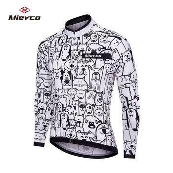 Biały kot kreskówkowy kolarstwo szosowe Jersey 2020 mężczyzna z długim rękawem Mountain Racing odzież rowerowa Maillot Ropa Ciclismo Hombre Wear tanie i dobre opinie MIEYCO CN (pochodzenie) POLIESTER Pełne Cycling jersey shirts Wiosna summer AUTUMN Winter Koszulki Zamek na całej długości