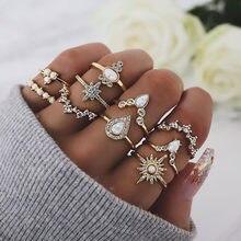 Europeu e americano jóias moda temperamento estrelas gota de água strass proteína liga anel conjunto de 10 para mulher