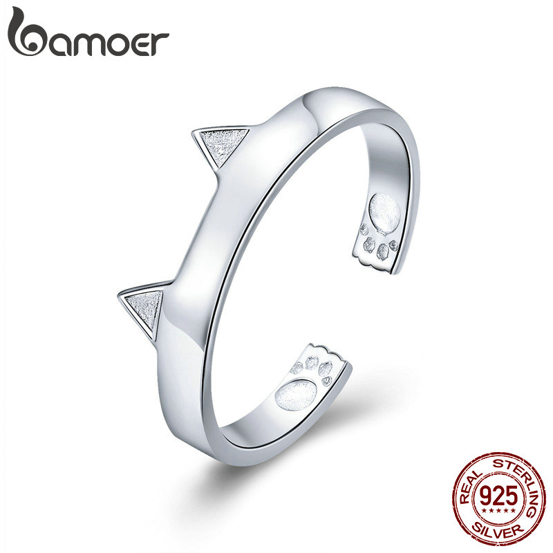 BAMOER Fashion 925 Sterling Silver Cute Cat Paw Ears Animal Shape Adjustable Finger Rings Party Wedding Jewelry Making SCR387