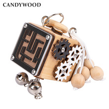 Wooden Busy Cube Children Hands-on Ability Training Lock Box Early Learning Busy board Fidget Baby Montessori Educational Toys