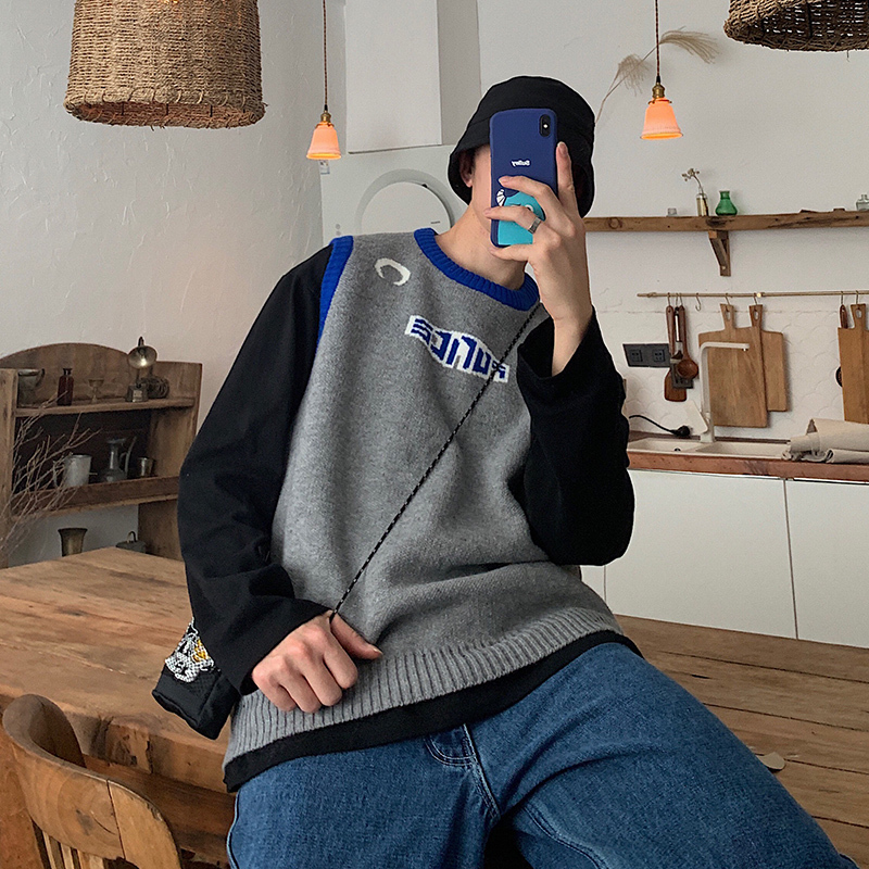 Winter Vest Sweater Men Warm Fashion Contrast Color Casual O-neck Sweater Pullover Man Streetwear Wild Loose Sleeveless Sweater