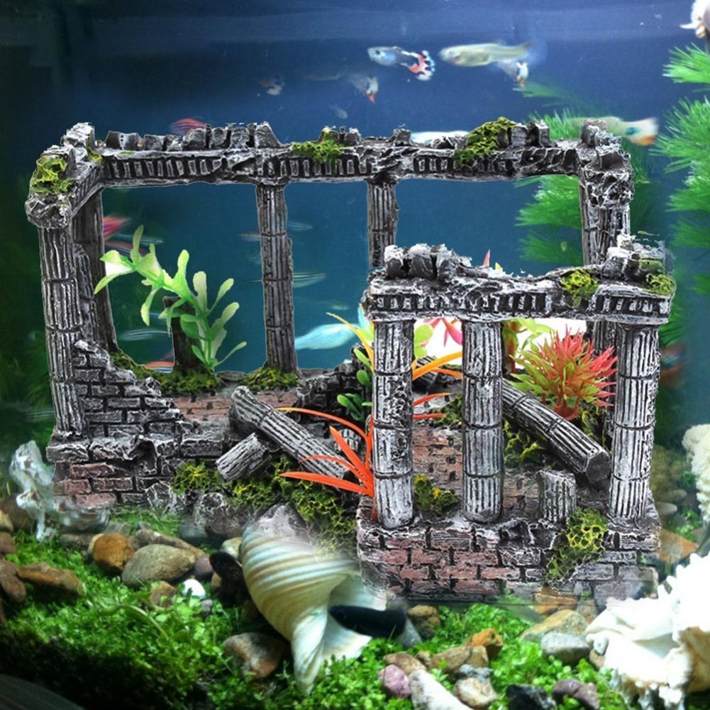 Resin Artificial Fish Tank Decorations Ancient Castle Landscaping For Aquarium Rock Cave Building Decoration Aquarium Accessorie