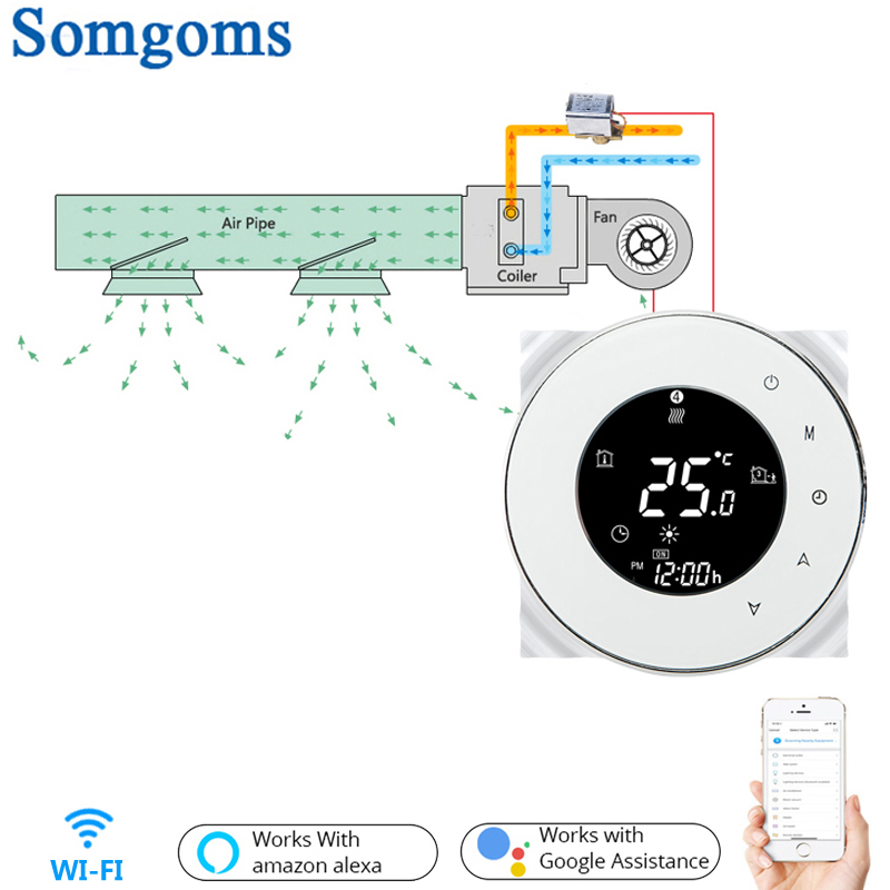 WiFi Smart Touch Thermostat Temperature Controller For 2 Pipe 4 Pipe Central Air Conditioner 3 Speed Fan Coil Unit Control