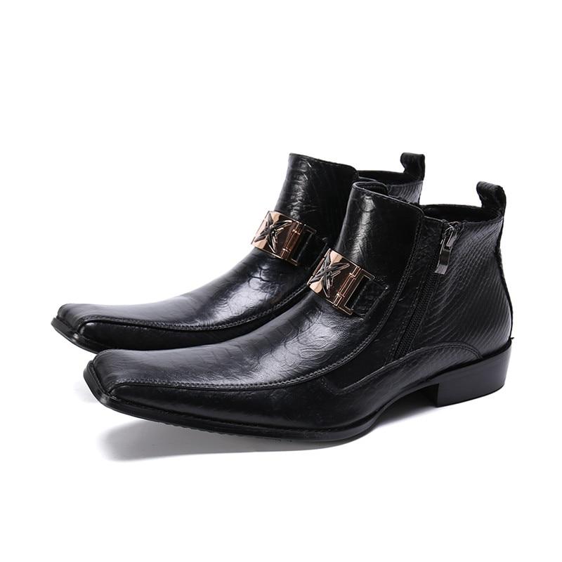 Zwart Mannen Werken Laarzen Vierkante Teen Enkellaars Waterdichte Mannen Lederen Formele Schoenen Metalen Hoepel Side Rits Gentleman Schoenen Winter