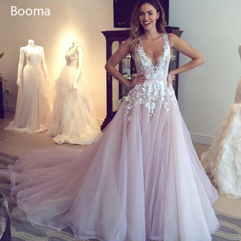Sexy V Neck Pink Wedding Dresses Backless Lace A Line Long Bride Dresses Sleeveless Appliques Tulle Bridal Gowns sodigne tulle wedding dresses a line lace appliques bridal gowns sexy v neck sleeveless backless wedding gown robe de mariee