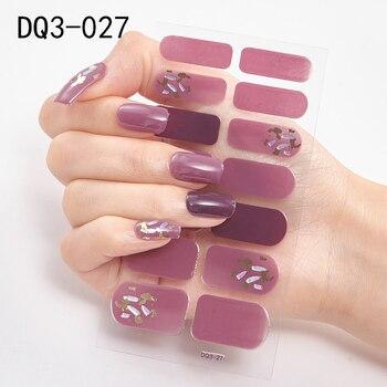 14pcs/sheet Glitter Gradient Color Nail Stickers Nail Wraps Full Cover Nail Polish Sticker DIY Self-Adhesive Nail Art Decoration 124