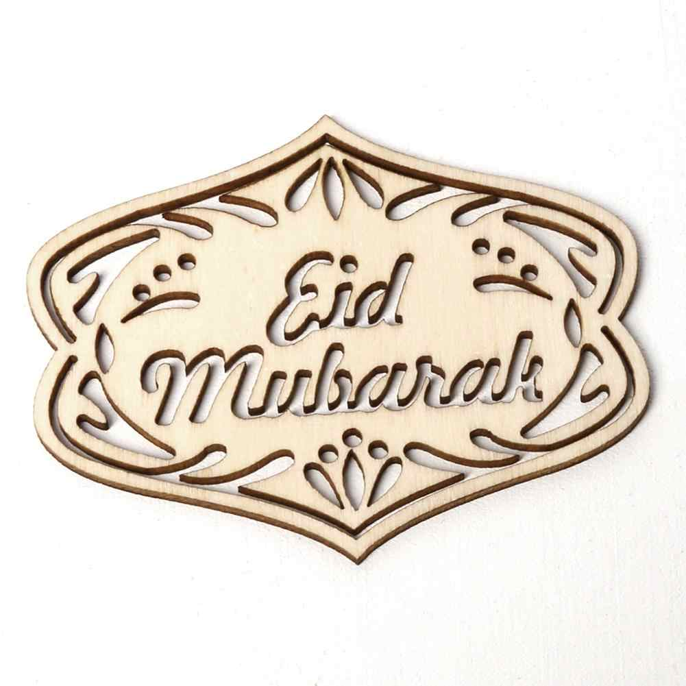 10pcs di Legno D'epoca di Eid Mubarak Ramadan Pendenti con gemme e perle Wall Hanging Ornament Decorazione FAI DA TE Piccolo Ciondolo Set Mubarak