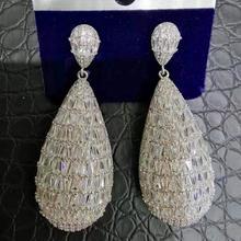 GODKI 2019 موضة ساخنة بيان مجوهرات الزفاف أقراط الزفاف العصرية الزركون تشيكوسلوفاكيا هندسية أقراط للنساء اكسسوارات