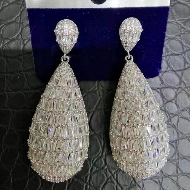Godki 2019 Hot Fashion Statement Bruids Sieraden Bruiloft Oorbellen Trendy Zirkoon Cz Geometrische Oorbellen Voor Vrouwen Accessoires