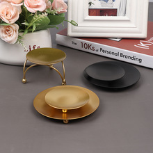 Candle-Holder Iron-Plate Decorative Festival Gold Wedding Black for LED