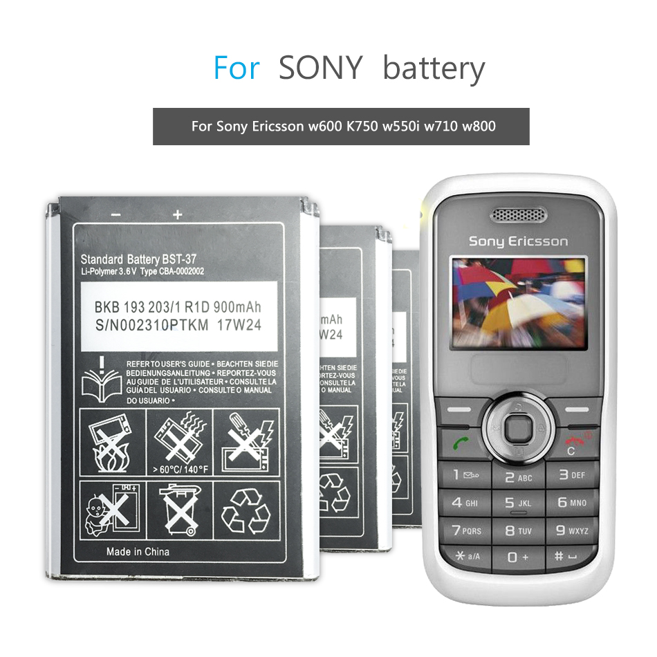 BST-37 Mobile Battery For <font><b>Sony</b></font> <font><b>Ericsson</b></font> <font><b>K750</b></font> D750i K758C S600C V600 V600i W550C W550I W600 W600c W700 W710 W710C W800 BST 37 image