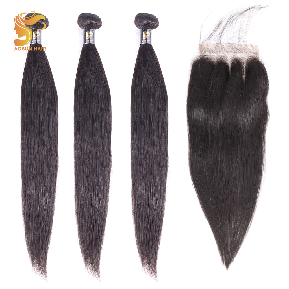 AOSUN HAIR Peruvian Straight Hair Weave Bundles 100% Human Hair Bundles With Closure 8-26inch Remy Hair Extensions Natural Color
