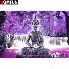 Cuadro de diamantes 5d Diy de HOMFUN, «Buda religioso», punto de cruz cuadrado, bordado de diamantes redondos, artesanía de diamantes de imitación, arte A30013