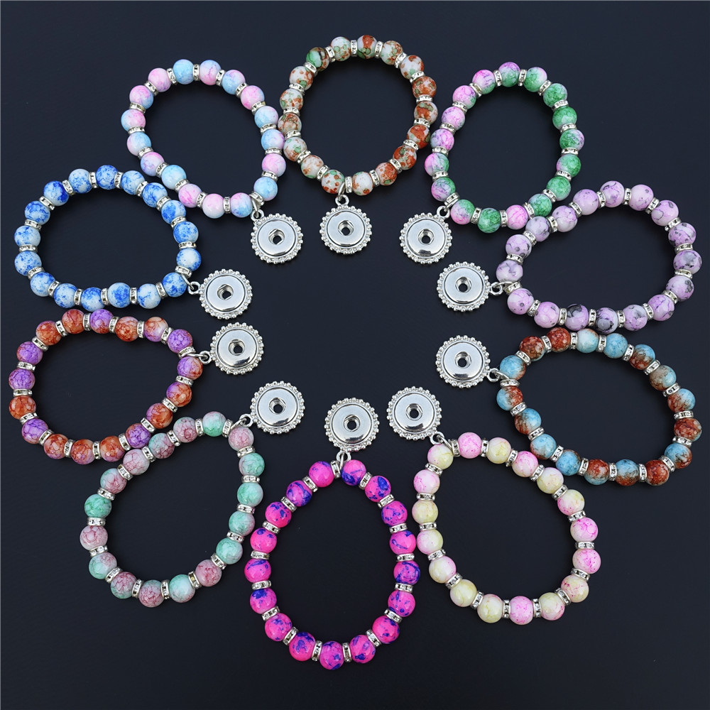 12mm Snap Buttons Charms Bracelet Colorful Glass Pearls Rhinestone Spacer 15cm Length Kids Girls Jewelry 12 Pcs / Lot Mix Colors image