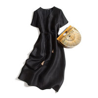 New silk turtle grain watered gauze dress style restoring ancient ways v neck dress with short sleeves loose long robe