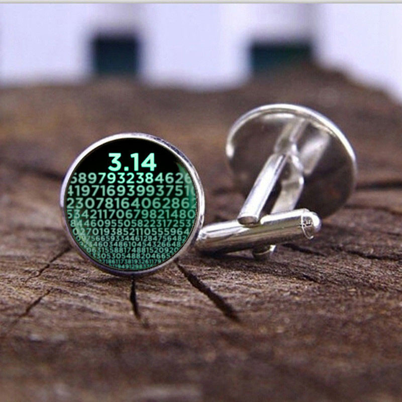 Numbers Symbol Of Pi Cufflinks For Mens Jewelry Accessories Mathematics Math Art Photo Crystal Glass Dome Shirt Cuff Links