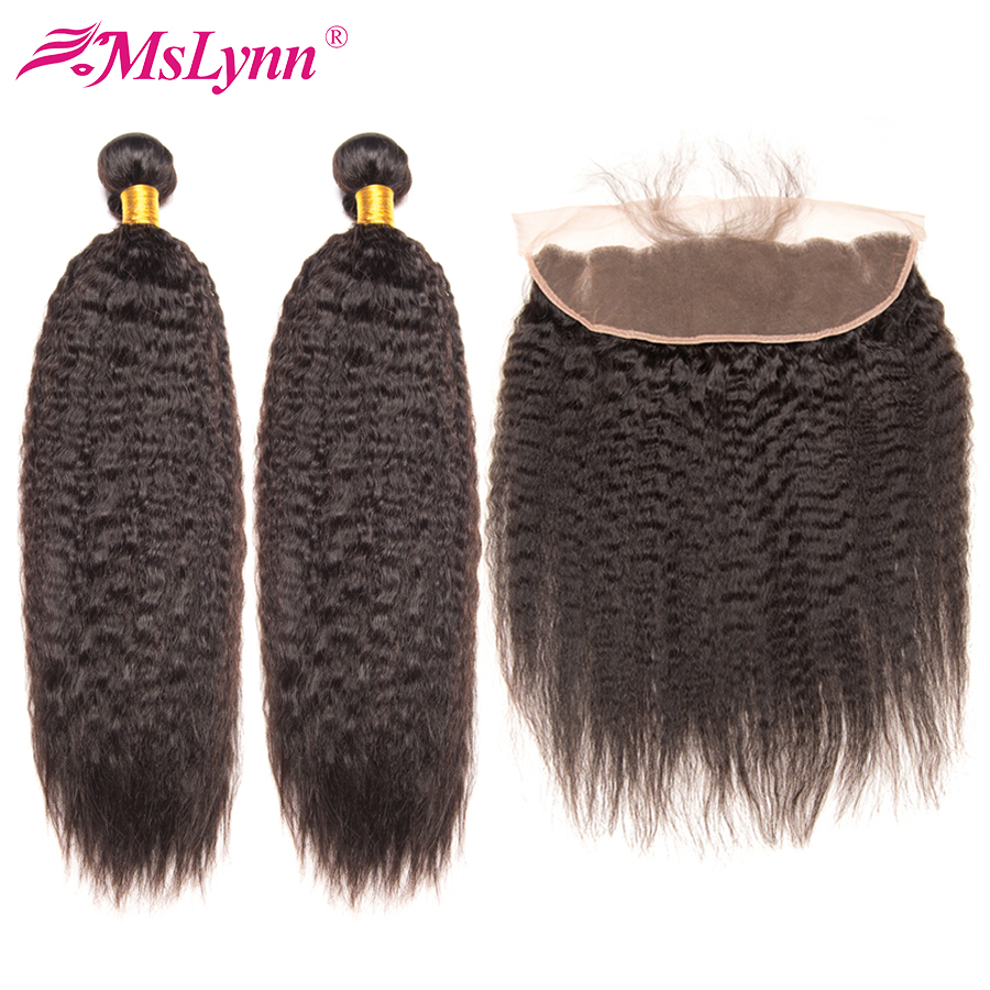 Mslynn Brazilian Kinky Straight Hair Weave Bundles Lace Frontal Closure With Bundles Human Hair Bundles With Frontal Remy-in 3/4 Bundles with Closure from Hair Extensions & Wigs    1