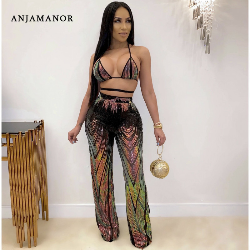ANJAMANOR Sexy Glitter Sequin Women Two Piece Club Outfits 2pcs Crop Top And Pants Matching Sets Festival Clothing Rave D57-AH96