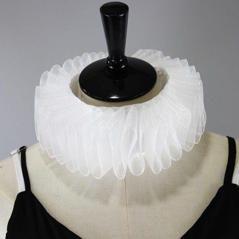 Womens Renaissance Elizabethan Ruffled Fake Collar Chiffon Retro Clown Neck Ruff