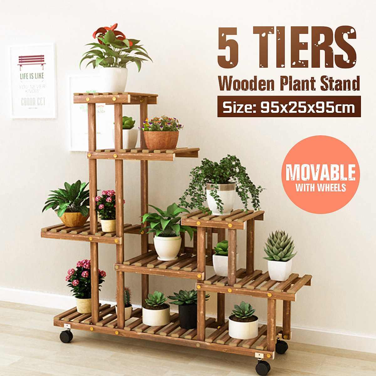 Estante de madera para flores de 5 niveles, soporte para plantas, soporte para múltiples Flores, estante de exhibición para bonsái, jardín, Patio, balcón, soportes de flores